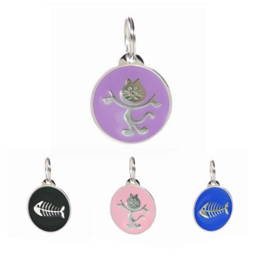 PetTouchID - Cat ID Tag, Smart Digital Tag, QR Code, Online Pet Page, Scanned GPS Location (Purple Cat)