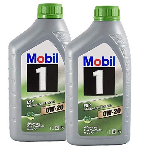 Mobil 1 100% Synthetisches Öl Motorschmiermittel ESP x2 0W-20, Packung mit 2 Litern
