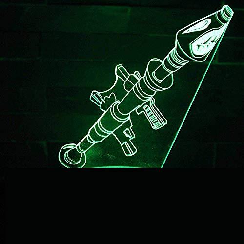 Combat Weapon 3D illusielamp drie patronen en 7 decoratieve lampjes die van kleur wisselen, perfect cadeau voor kinderen