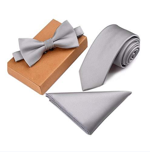 YTGUEVKDH Slim Tie Set Men Bow Tie and Pocket Square Bowtie Necktie (Color : 06)