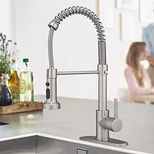 BESy Commercial Kitchen Faucet with Pull Down Sprayer, High-Arc Single Handle Spring Rv Kitchen Sink Faucet, 3 Function Laundry Faucet, Brushed Nickel