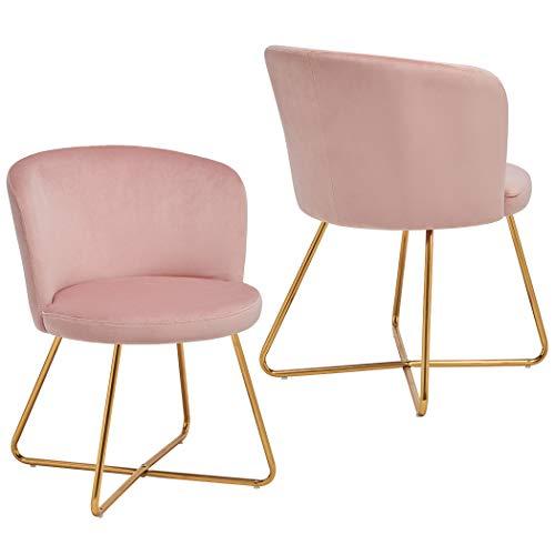2er Set Esszimmerstuhl aus Stoff Samt Polsterstuhl Retro Design Stuhl mit Rückenlehne Besucherstuhl Metallbeine Farbauswahl Duhome 8076X, Farbe:Hellrosa, Material:Samt