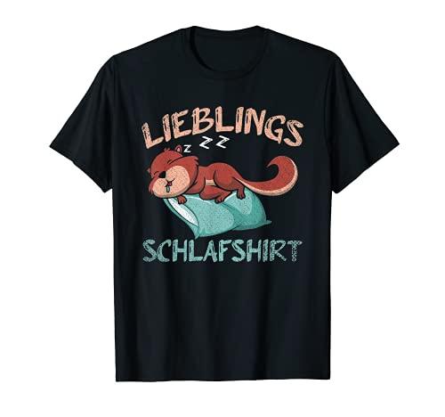 Wald Natur Tier Pajama Schlafendes Eichhörnchen Schlafshirt T-Shirt