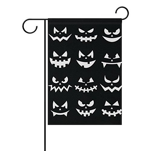 coosun Scary Halloween Kürbis Gesichter auf schwarzen Hintergrund Polyester Garten-Flagge im Flagge Home Party Garten Decor, doppelseitig, 30,5x 45,7cm, Polyester, mehrfarbig, 12x18(in)