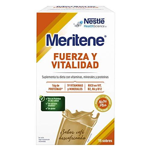 Meritene® FUERZA Y VITALIDAD - Suplementa tu nutrición y mantén tu sistema inmune con vitaminas, minerales y proteínas - Batido de Café descafeinado - Estuche (15 sobres de 30g)