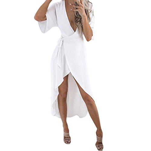 Longra Damen Kleider Elegante Kleider Chiffonkleider 3/4-Arm Blusenkleider A Linie Hemdkleid Strandkleid Freizeitkleid Casual Kleid Asymmetrisches Lang Maxikleid Partykleid mit Gürtel (L, White)