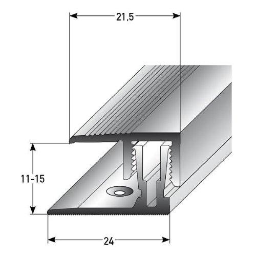 Klick-Abschlussprofil Laminat / Parkett, 11 - 15 x, 21,5 mm, Alu. Eloxiert, silber