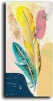 QYMeng-モダンな抽象的なカラフルな羽のポスターとプリントリビングルームの装飾のためのスカンジナビアの壁アートの写真-(60X120cm)フレームなし