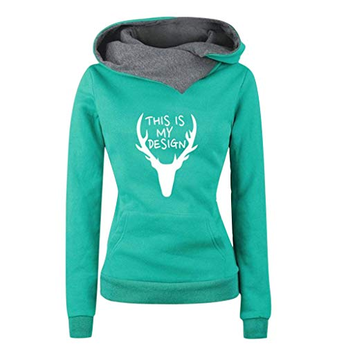 JFLYOU Women This is MYDESIGN Christmas Printed Lapel Neck Hoodies Sweatshirt S-5XL(Green,XX-Large)