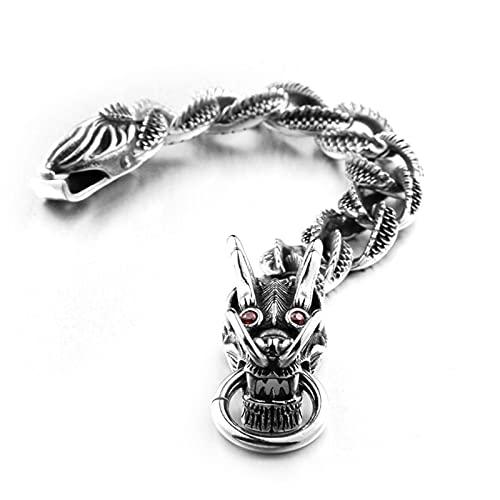 SYF@QYY Gothic Retro Style Dragon Link Chain Bransoletka Mężczyźni Stal Nierdzewna Vintage Old Metal Wykończenie Zapięcie Haczyk Sprężynowy,19.5cm