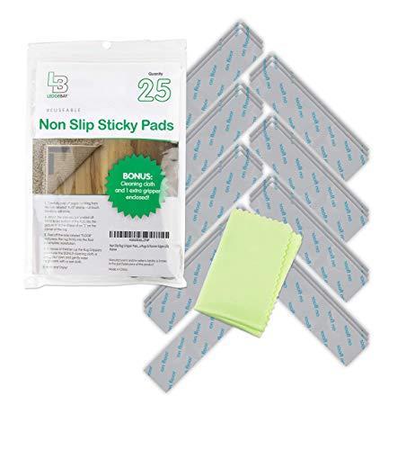 Almohadillas antideslizantes para alfombras: 25 pinzas de cinta de esquina reutilizables, adhesivas, antideslizantes, suelos laminados...