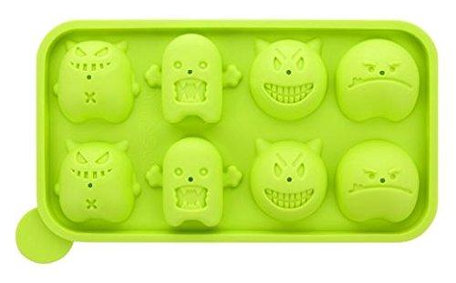 CONCEPT4U® Silikon-Monster-Kuchen-Pop-Form, Lollipop-Tablett, Party, Kinder, Süßigkeiten, Kochgeschirr, Backstäbchen, Geburtstag, Grün