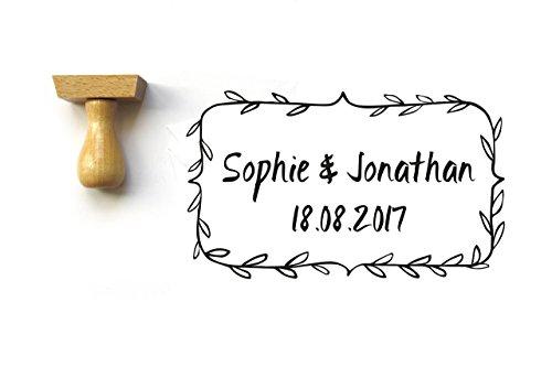 Timbro personalizzato fogliame, per matrimonio, con nomi e data, rettangolo