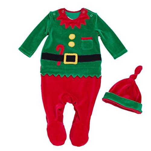 Decstore Bambino 2pcs Natale Costume Babbo Pagliaccetto Pigiama Footed Attrezzatura con cappello(Green 73cm)