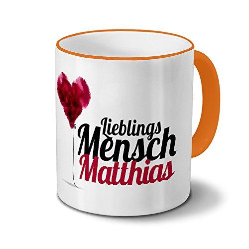 printplanet Tasse mit Namen Matthias - Motiv Lieblingsmensch - Namenstasse, Kaffeebecher, Mug, Becher, Kaffeetasse - Farbe Orange