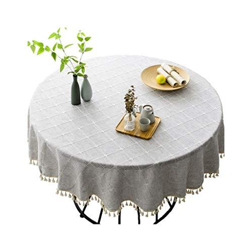 Zhuobu Nordic Style Ronde Tafel Tafelkleed 1,6 meter katoen en linnen Household tafelkleed moderne minimalistische Ronde Tafel Doek (Tassel Gray, Alleen tafelkleed)