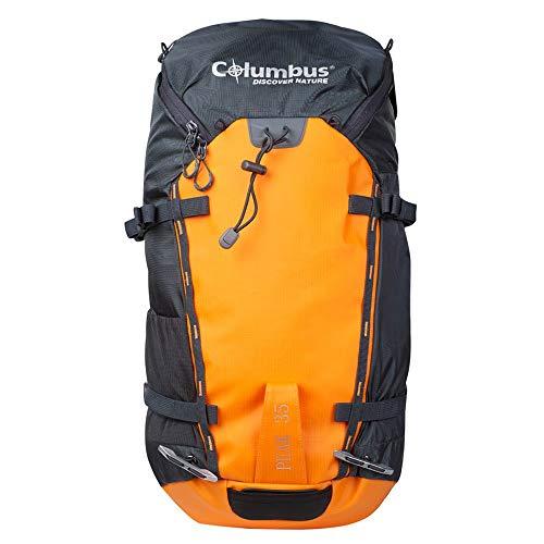COLUMBUS Mochila Peak 35 Mochila de Senderismo Ajustable, con Aireación en la Espalda y Sistema de Transferencia de Carga. Incluye Funda para la Lluvia. Capacidad 35 L en Color Naranja y Gris