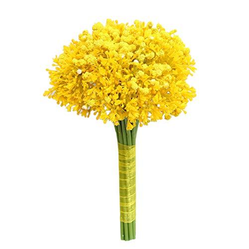 iKulilky Künstliche Blumen,Gefälschte Gypsophila,Künstliche Pflanzen,Gefälschte Blume Hochzeit Zuhause Dekoration Blumenstrauß Blumenarrangement - Gelb
