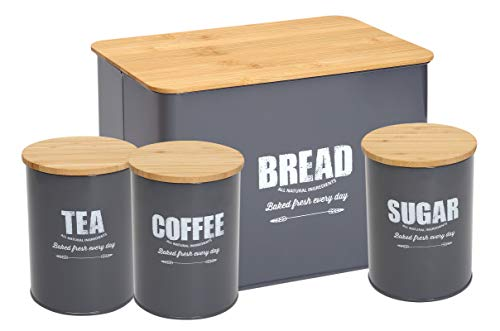 Bread Bin Loaves Storage Canister Tins and 3 Piece Kitchen Canister Set - Tight Fitting Lids - Countertop Space-Saving, Carbon Steel Safty - Black