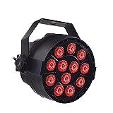 Fesjoy Accesorio de iluminación, AC90-240V 18W 12 * 3 en 1 RGB LED Etapa Par Luz Accesorio de iluminación Compatible DMX512 / Activado por Sonido/Auto-Run/Master-Slave Control 7CH Flash/Strobe /