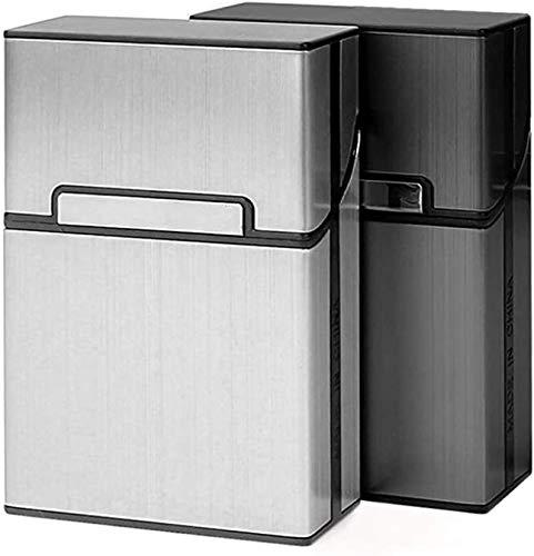 Gymqian Caja de Cigarrillos 2 Pcs Ligero, Gris Plata de Aluminio Cable de Cigarrillo. Ligero