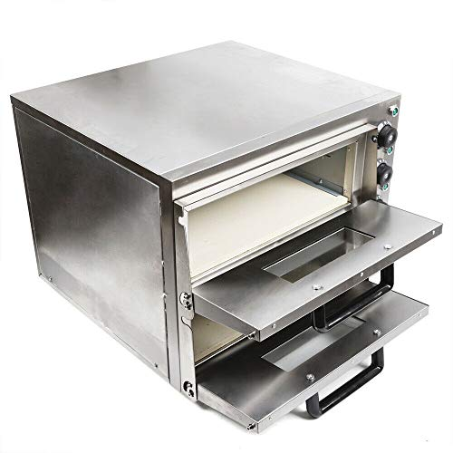 Commercial Pizza Oven Stainless Steel Pizza Oven Countertop Electric Pizza and Snack Oven Deluxe Pizza and Multipurpose Oven for Restaurant Home Pizza Dishes 110V 3KW【Double Oven】
