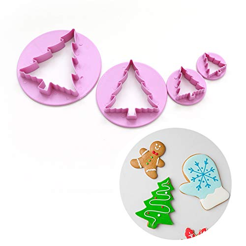 Christmas Tree Theme Cookie Cutter Embossing Mold Set By Garloy(4 Pack), Cutting Mold Ideal for Pastry Biscuit Dough Sugarpaste Rolled Fondant Petal Paste Ggum Paste Marzipan or Craft Clays