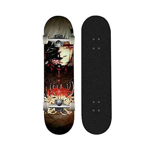 Yizhi Skateboards estándar, Patrón de Kenki de Tokio Ghoul Kaneki 31'x 8' Doble Patada de 7 Capas para Adultos Adolescentes para Principiantes Chicas niños 883310