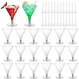 SelfTek 20Pcs Disposable Martini/Cocktail Glasses 7Oz/200ml Plastic Dessert Cup with 25Pcs Plastic Spoons for Christmas Party, Wedding, Dance