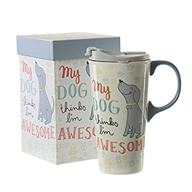 17 oz Ceramic Coffee Travel Cup with Lid and Handle,Dog