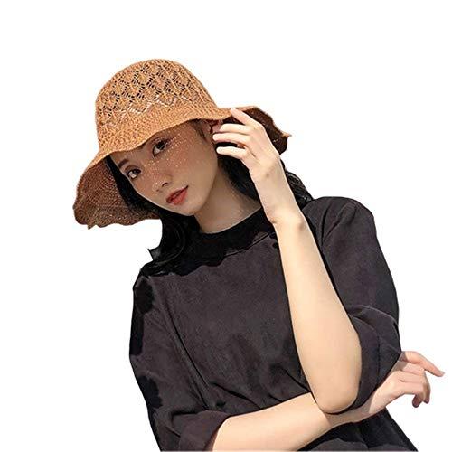 SHJIA Sombreros De Playa Plegables De Verano, Sombreros Al Aire Libre para Viajes por El Mar, Sombreros De Paja De Sombrilla para Damas Sombreros De Arco Grande Sombreros De ala Grande