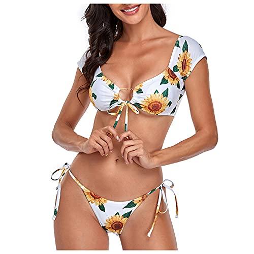 Damen Bademode High Leg Bikini Hochzeitskleider Strand Häkelkleid Bikinis für Teens 2021 Weiß Strandkleid Bauchreduzierer Bademode Strandkleider Gr. M, weiß