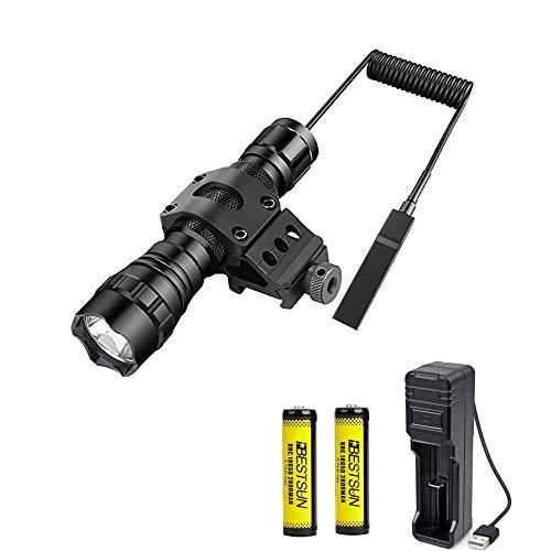 LUXJUMPER Linterna LED Recargable, 1200 Lumen Alta Potencia linterna táctico impermeable de caza con almohadilla de presión, baterías recargables