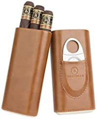 ✅ CARRY CIGARS IN STYLE - This cigar travel case holds up to three of your precious cigars during your travels. It is made from smooth and sleek brown PU leather with a Spanish Cedar wood interior. ✅ COMES WITH A CIGAR CUTTER - Our portable cigar cas...