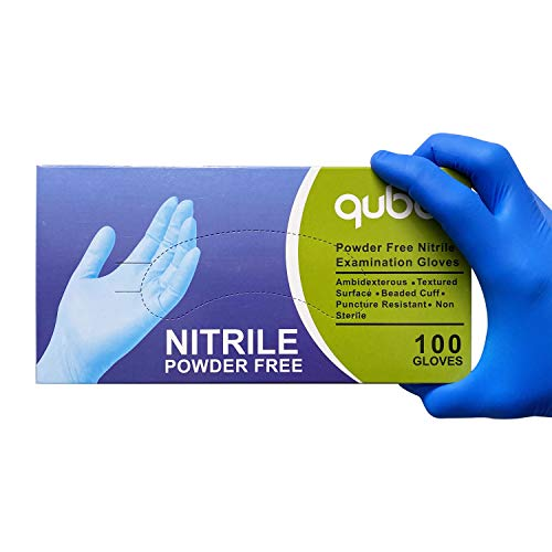Nitrile Medical Grade Exam Gloves, Powder Free, Latex-Free, 4 MIL, Fingertip Textured, Size Small - 1 Box of 100 Gloves By Weight