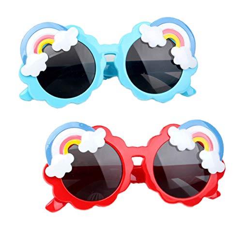 Summer Rainbow Gafas de sol para niños pequeños, Gafas de sol para niños pequeños de 1 a 5 años redondas, para niños niñas Gafas de sol resistentes a los rayos Uv (Rojo + azul)
