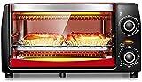 Mini horno 12L con ajuste de temperatura 0-230 ℃ y 0-60 minutos Temporizador, 1050W Double glaseado Tostadora Horno Rojo