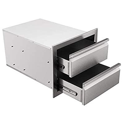 """CO-Z Outdoor Kitchen Drawer, 304 Stainless Steel Single Layer Access BBQ Drawer for BBQ Island, Patio Grill Station, SUS304 Outside Kitchen Cabinet Barbecue Storage Drawers (18"""" x 15"""" x 23"""")"""
