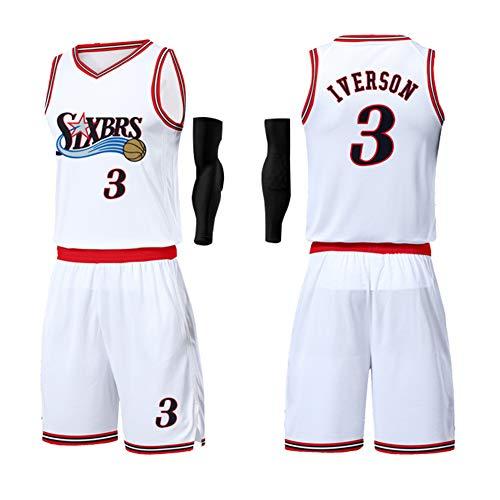 Herren Basketball Jersey Anzug-3# Allen Iverson Philadelphia 76ers Unisex Training Wear Supporter's Wear Kinder Sportswear Bestickte Stoff Fans Sweatshirt, White-XXXXL