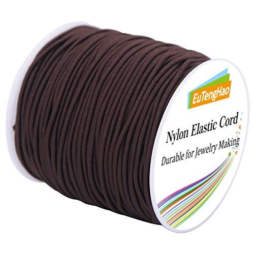EuTengHao 2mm Nylon Elastic Cord for Bracelet Satin Nylon Decorative Cord Nylon Hand Knitting Cord String Beading Thread Bracelet Rope for Necklace Bracelet Jewelry Making (Brown, 55 Yards/2mm)