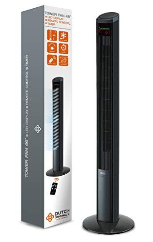 DUTCH ORIGINALS Ventilador de torre silencioso con mando a distancia, 50W, Ventilador columna 122 cm, Pantalla LED, Ventilador de pie con oscilación autómatica 70°, 3 velocidades + Timer
