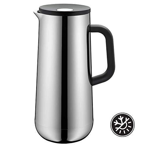 WMF Thermoskan Impulse Cromargan roestvrij staal, 1,0 l, voor koffie of thee druksluiting houdt dranken 24 uur koud en warm