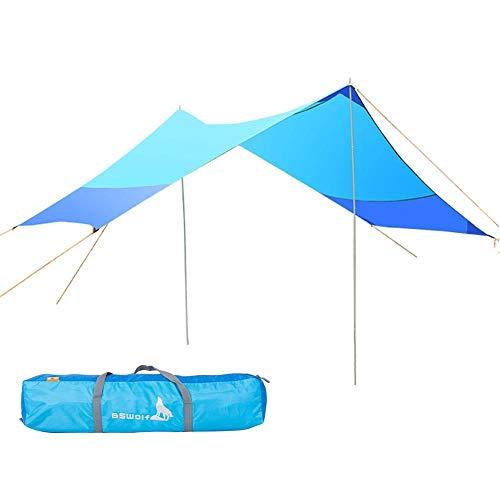 Hamaca toldo ligero con bastones de lona impermeable a prueba de viento Camping refugio para acampar al aire libre senderismo mochilero picnic - azul