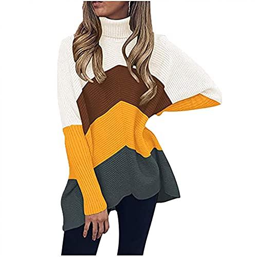 SHIZUANYUE - Jersey para mujer, informal, suelto, de manga larga, elegante, cuello alto, estilo Batwing Oversize, amarillo, XXXL