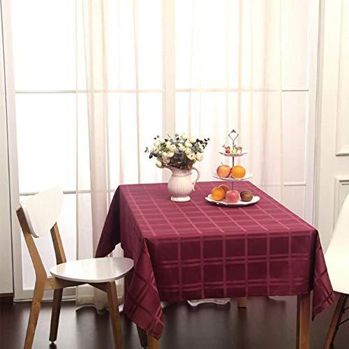 Nappe de tableNappe carrée simple, grande nappe carrée, nappe basse en polyester antisalissure imperméable et résistant à l'huile,winered,110 * 170cm