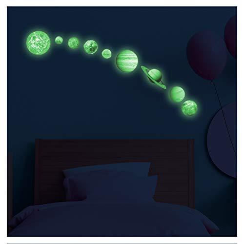 Stickers adhésifs Phosphorescent | Sticker Autocollant Lumineux Planètes du Système Solaire - Décoration murale fluorescente | 35 x 35 cm