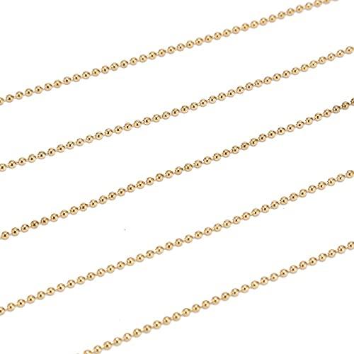 BOSAIYA PJ1 2M Acero Inoxidable de 1,6 mm / 2.0 mm / 2.4mm Bolas de Oro Cadenas de Bolas para Hombres Collar de Mujer Fabricación con 10pcs Conectores a Juego Tl0527 (Color : Gold Ball 1.6MM)