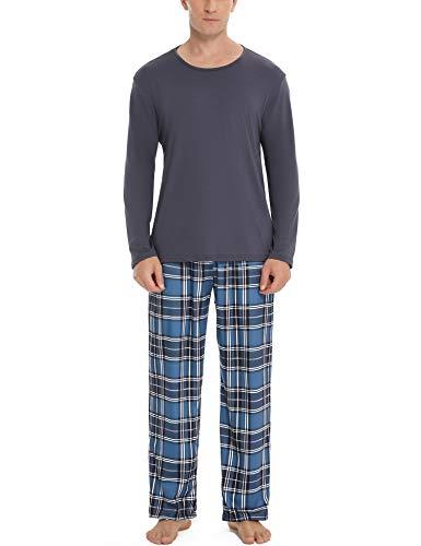 Aibrou Herren Schlafanzug Zweiteiliger Lang Pyjama Set, Nachtwäsche Hausanzug...