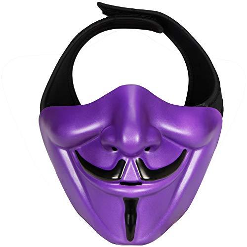 BLCVC Samurai Airsoft Maske, Tactical Half Face Motorrad Evil Demon Knight Kabuki Maske für Halloween Cosplay Kostüm Jagd Schießen,Lila