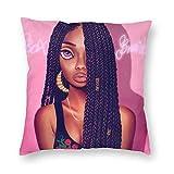 YHKC Chica Afro con Pelo Largo Negro Decorativo Fundas de Almohada cuadradas Funda de cojín de Terciopelo 18x18 Pulgadas para la decoración del Banco del sofá del sofá del hogar